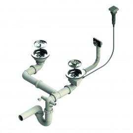 Syfon dwukomorowy automatyczny z kwadratowym korkiem